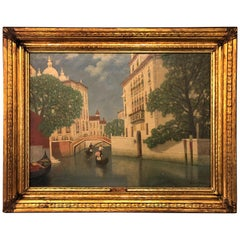 Gulbrandt Sether Signed Norwegian American Oil on Canvas of a Venice Canal