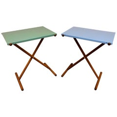 Pair of Midcentury Teak and Steel Tray Tables