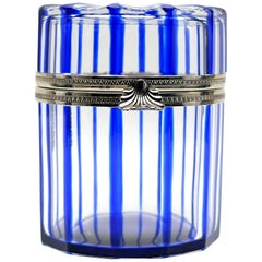 Cobalt Blue and Cut Crystal Lidded Box by Cristal Benito, France