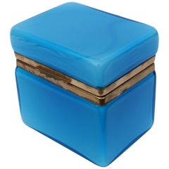 Vintage Murano Turquoise Glass Box