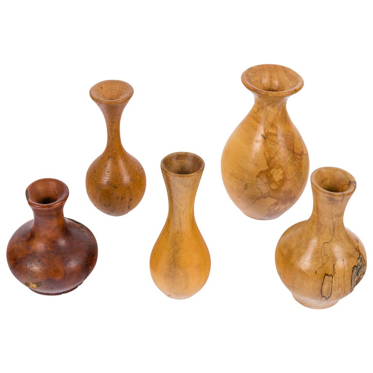 Melvin Lindquist Handcrafted Turned Vase Grouping, USA, 1970s For Sale