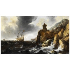 Stormy Marina, Dubbels 17th Century Oil on a Table Marine Painting