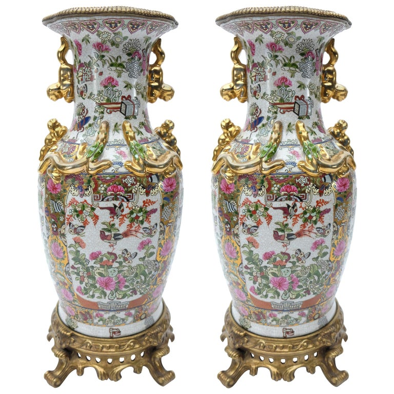 Modern Famille Rose Chinese Vases On Bronze Stands A Pair For Sale