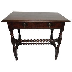 Oak Side Table or Writing Table, English Early 18th Century