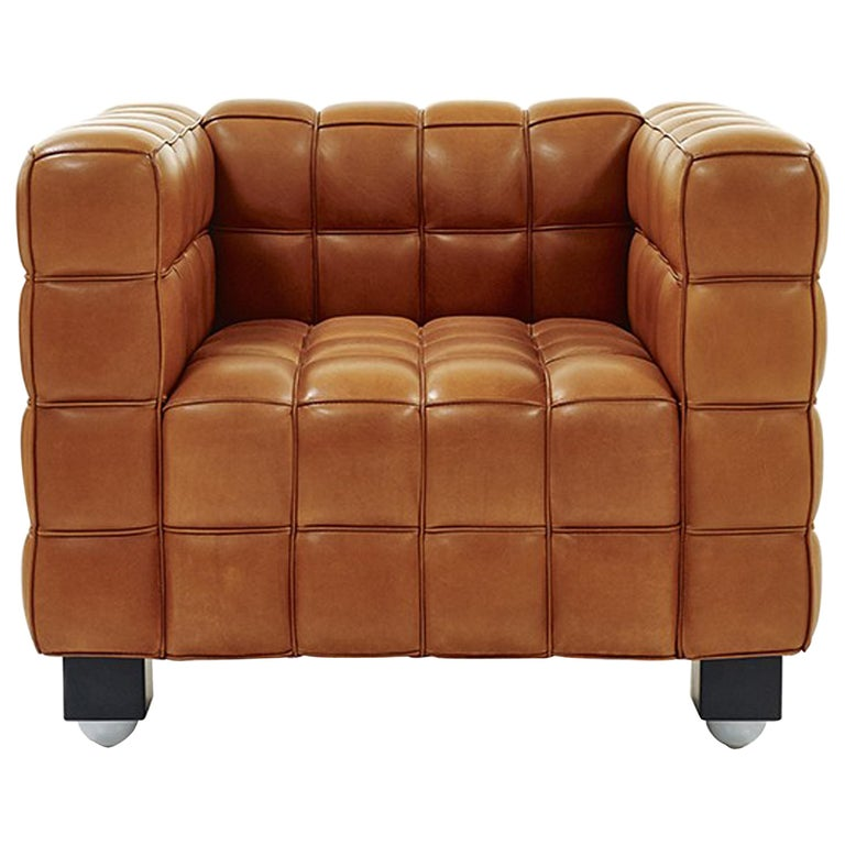 Natural Leather Kubus Design by Josef Hoffmann For Sale