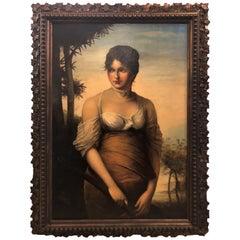 19th Century Oil on Canvas, a Portrait Beautiful Maiden, Signed A. Zienert