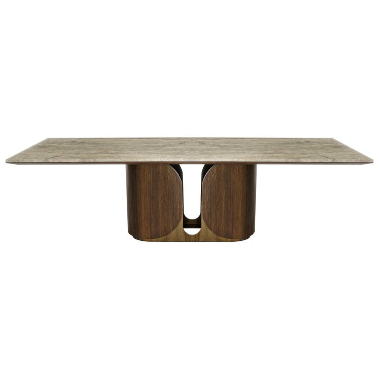 Horus Table, Contemporary Dining Table in Aged Brass Base and Travertine Top For Sale