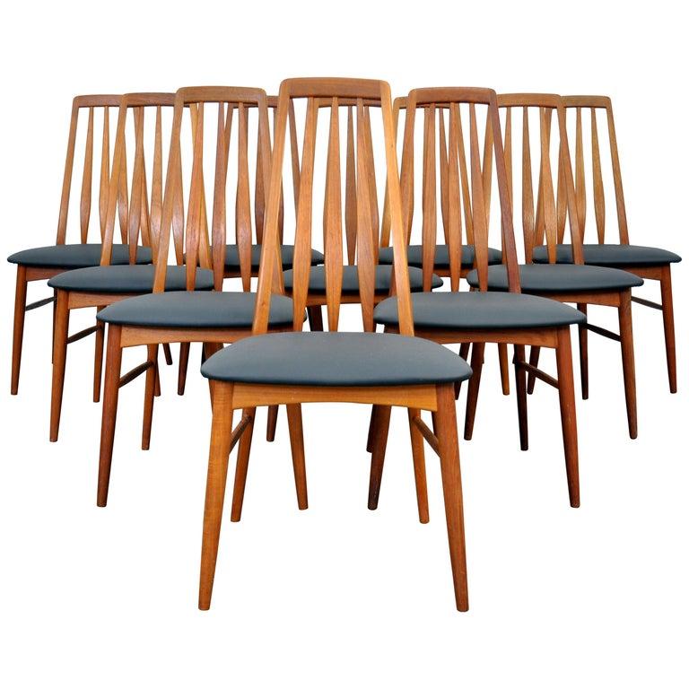 Set of 10 Niels Koefoed Teak Eva Dining Chairs