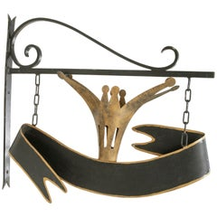 Mid-20th Century French Sign with Crown and Banner on Wrought Iron Bracket