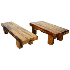 Set of Two Brutalist Solid Oak Benches, France, 1950s