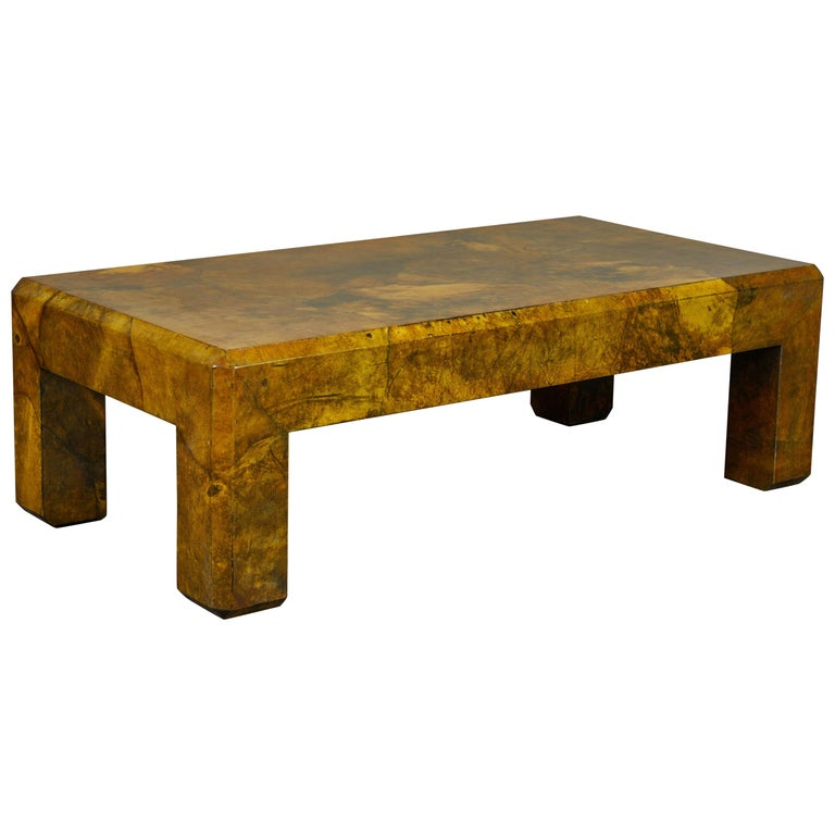 1970s Parchment Coffee Table by Karl Springer