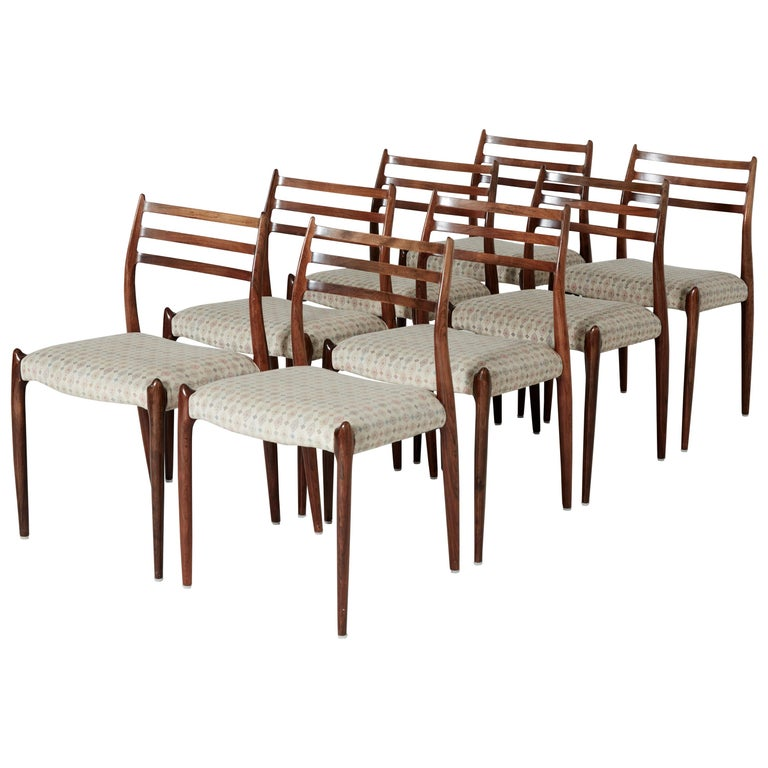 Set of Eight Model 78 Rosewood Chairs by Niels O. Møller, Denmark, 1960s