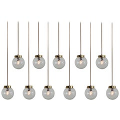 Set of Mid-Century Modernist Brass Pendants Lights with Structure Glass, 1970s