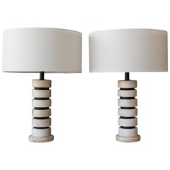 Stacked Marble Table Lamps, Italy, 1960s. Sold Individually.