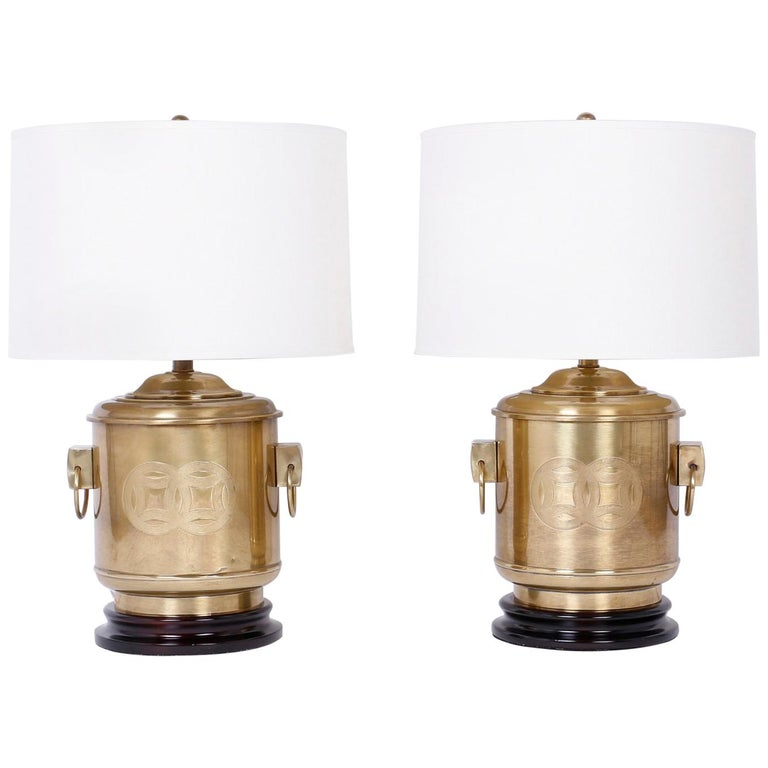 Pair of Brass Chinese Style Table Lamps