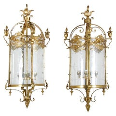 Matched Pair of 19th Century Bronze Lanterns