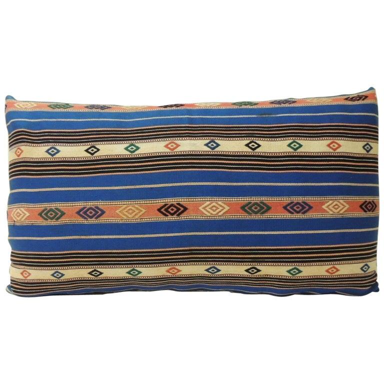 Vintage Blue Stripes Linen Bolster Decorative Pillows