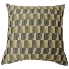 "Green and Natural ""Cityscape"" Woven Decorative Pillow Two-Sided"