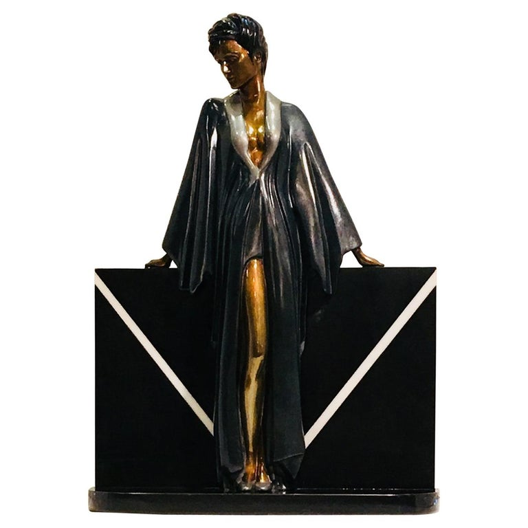 "Patrick Nagel Retro ""Standing Lady"" Bronze and Granite Sculpture Limited Edition For Sale"