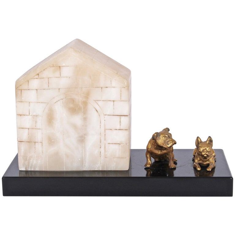 1930s Alabaster and Slate Dog House Table Lamp with Pair of Bronze Bull Dogs