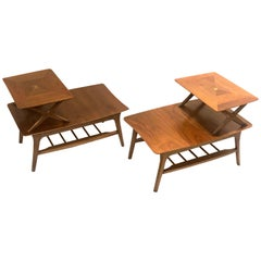 American Mid-Century Modern Pair of Walnut Step End Tables