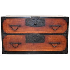 Meiji Japanese Low Tansu Chest, Crane Bamboo Hardware