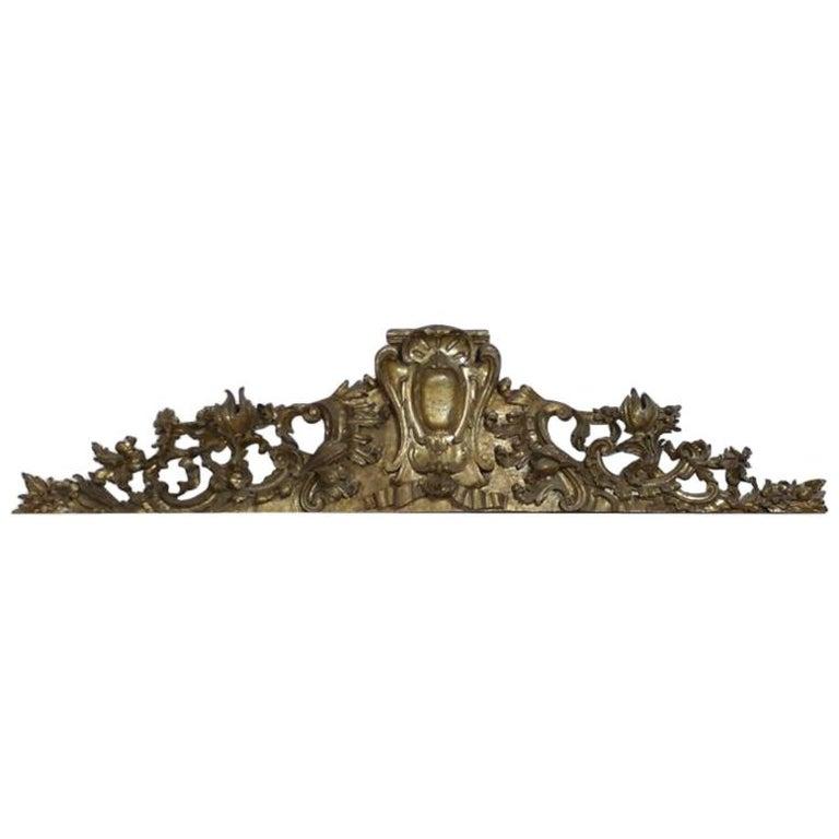 Venetian 18th Century Carved Giltwood Overdoor