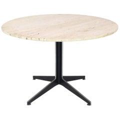 Round Travertine Top Fabricated Aluminium X-Base Cafe Dining Table