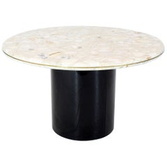 Round Marble Top Cylinder Base Center Conference Gueridon Dining Table