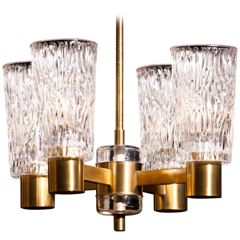 1950s, Brass and Crystal Glass Chandelier by Orrefors Sweden For Sale