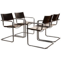 Tubular Steel Chrome and Sturdy Black Leather Dining Chairs by Matteo Grassi