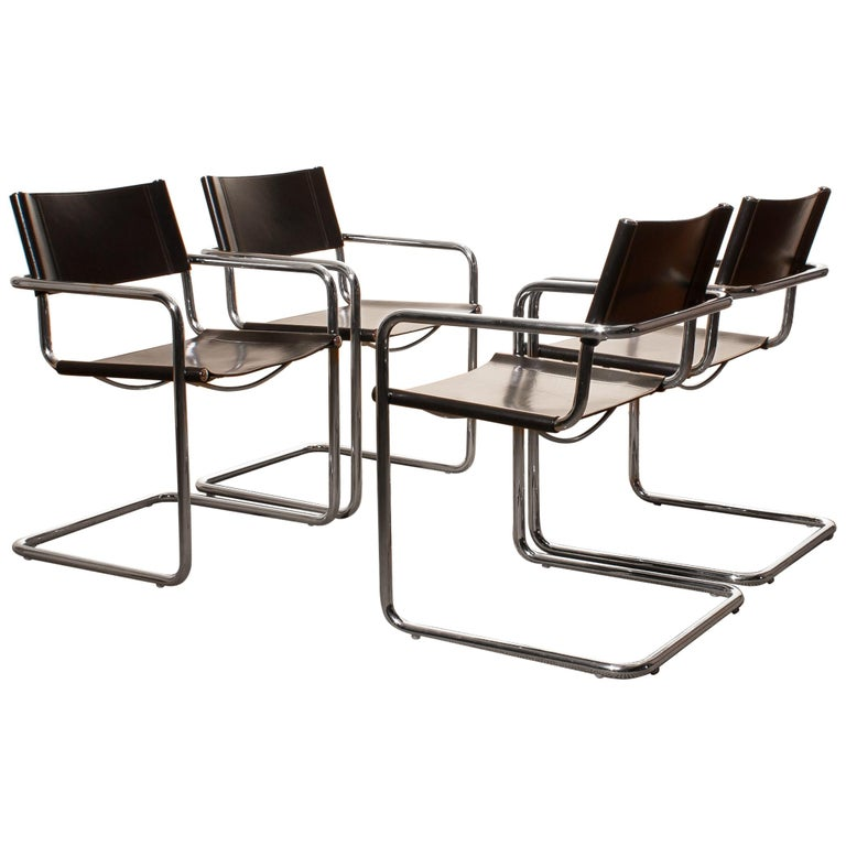 Tubular Steel Chrome and Sturdy Black Leather Dining Chairs by Matteo Grassi For Sale
