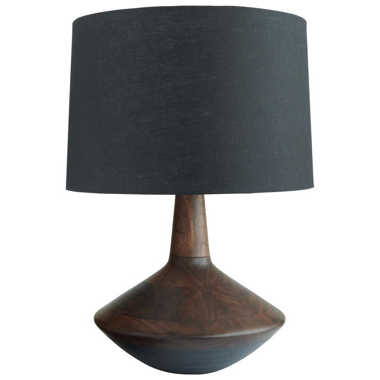 Handcrafted Turned Eden Lamp of Figured Walnut and Graphite Ash