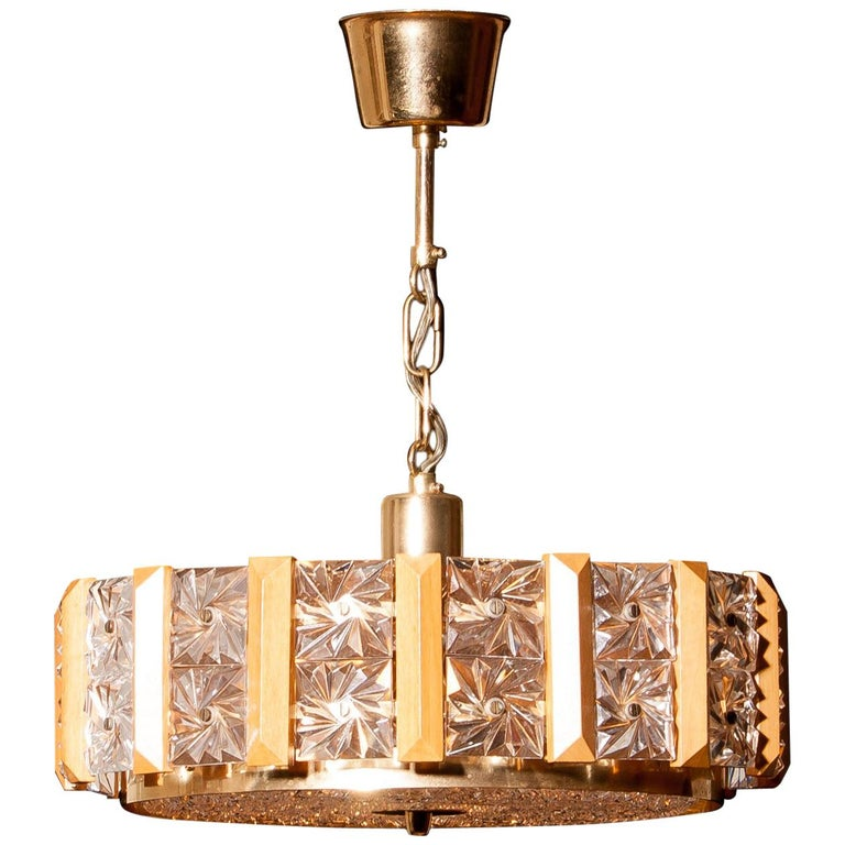 Crystal, Brass and Teak Pendant by Carl Fagerlund for Orrefors, 1960s For Sale