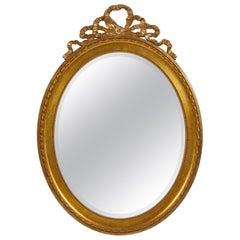 Late 19th Century Swedish Gustavian Oak Oval Mirror
