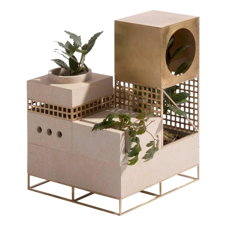 """Architectural Planter """"Plantscape"""", with Limestone and Brass For Sale"""