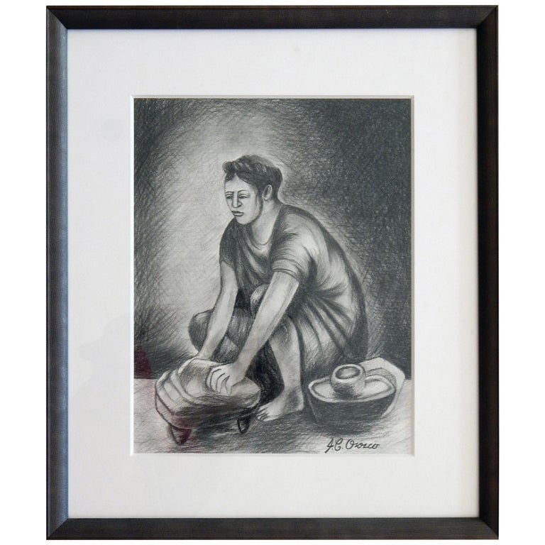 Original Graphite Drawing by Mexican Muralist Jose Clemente Orozco