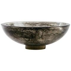 Large Charcoal Resin Pedestal Bowl