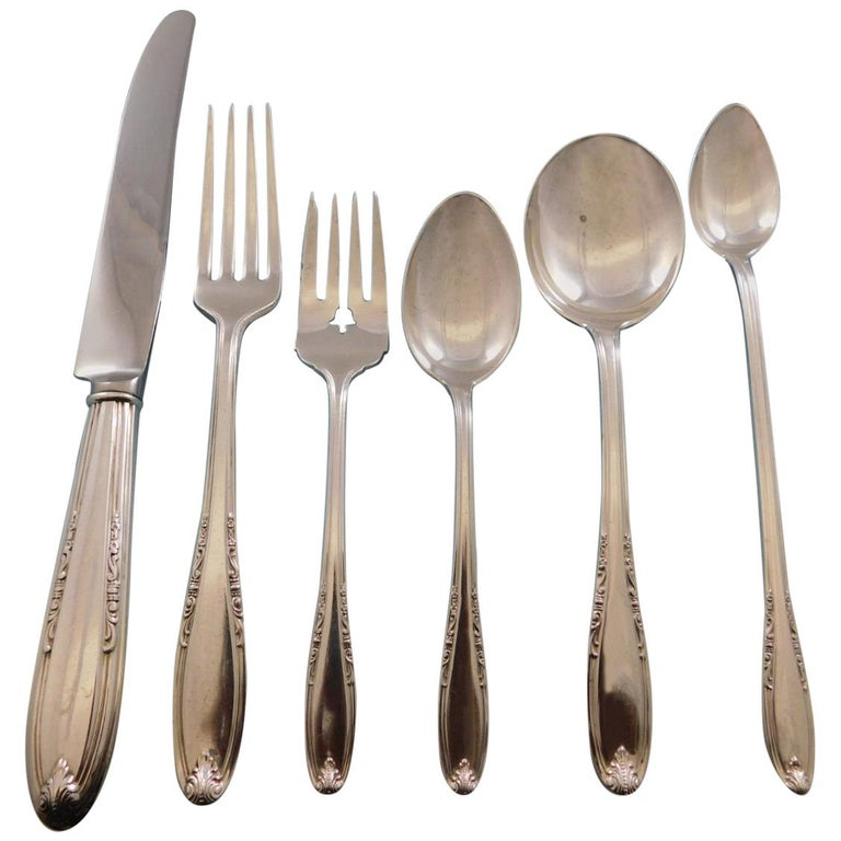 dfdd0397733a3 Leonore by Manchester Sterling Silver Flatware Set for 8 Service 52 Pcs  Dinner For Sale