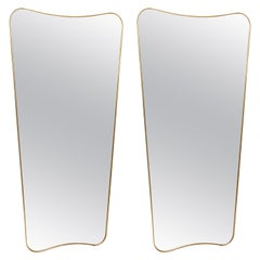 Pair of Italian Large Gilt Brass Framed Mirrors in the Style of Gio Ponti