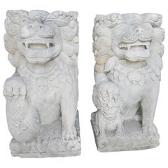 Pair of Balinese Limestone Lion Foo Dog Statues