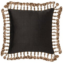 Brabbu Paris Pillow in Black Linen with Gold Tassles