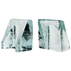 Cast Glass Bookends by Wayne Husted for Blenko