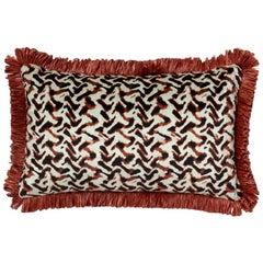 Brabbu Albus Pillow in Red Velvet with Tassles