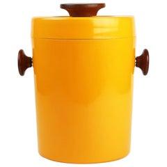 Teak and Orange Plastic Ice Bucket by Luthje Wood