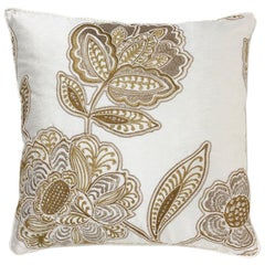 Brabbu Flora Pillow in White Linen with Gold Stitching