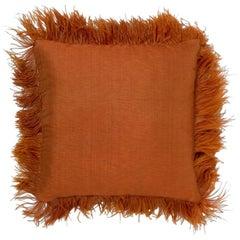 Brabbu Tubbataha Pillow in Burnt Orange Linen with Fuzzy Trim