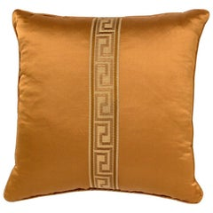 Brabbu Labyrinth Pillow in Orange Satin with Stripe Detail