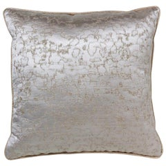 Brabbu Marmur Pillow in White Satin with Silver Detail