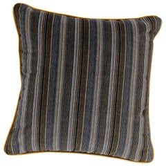 Brabbu Versicolor Pillow in Brown Velvet with Multicolored Stripe Pattern
